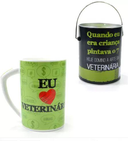 CANECA PORCELANA VETERINÁRIA + LATA PORTA TRECO
