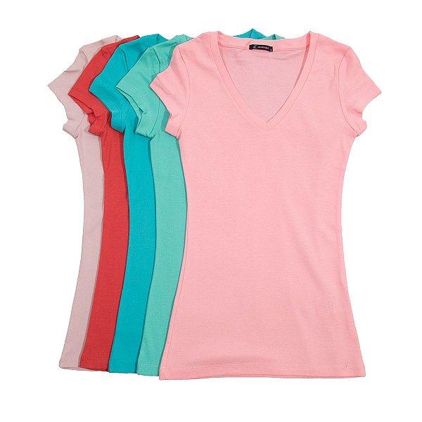 Kit Lote 5 Blusas Femininas Via Costeira Em Algodão