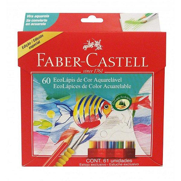 6a25309357 Lápis de cor Faber Castell 60 cores aquarelável sextavado - Só Papel ...