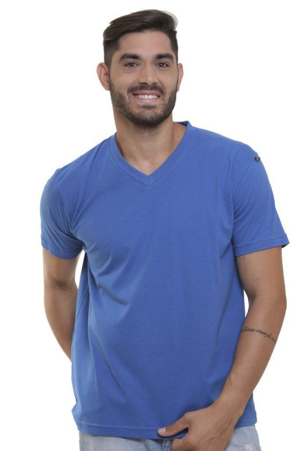 Camiseta Decote V Oitavo Ato Azul Violáceo