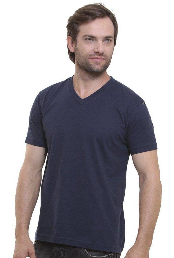 Camiseta Decote V Marinho