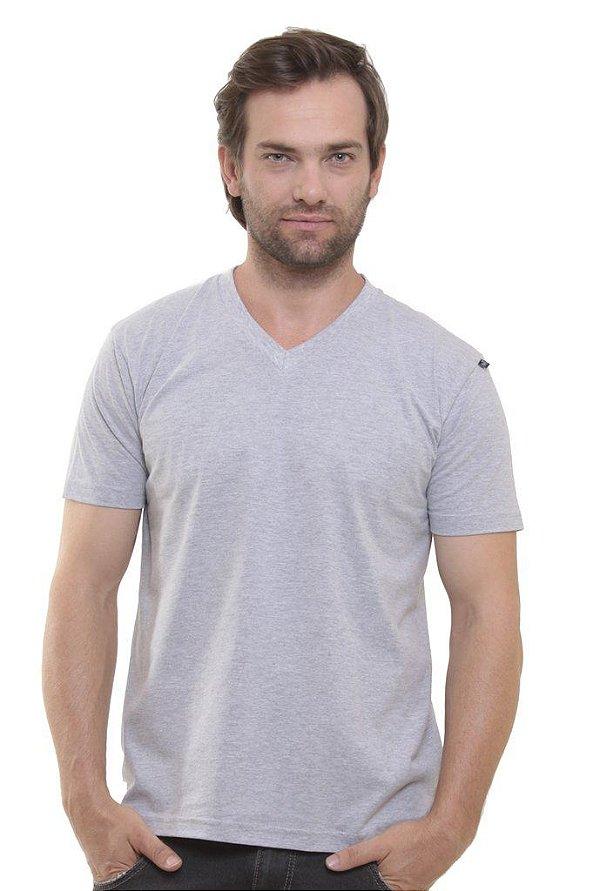 Camiseta Decote V Oitavo Ato Cinza Mescla
