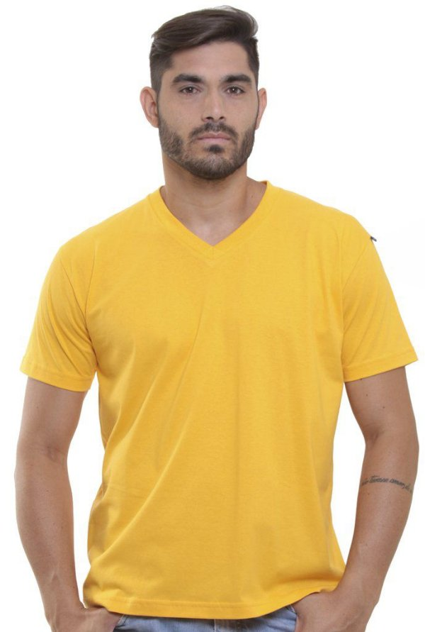 Camiseta Decote V Oitavo Ato Amarelo
