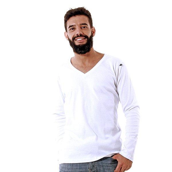 Camiseta Decote V Oitavo Ato Manga longa Branco