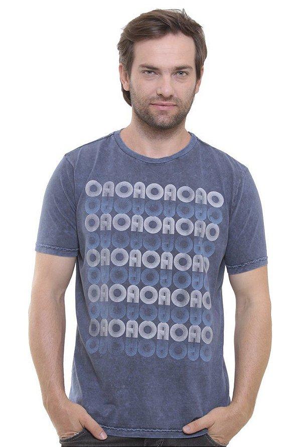 Camiseta Básica Marmorizada Wash Blue