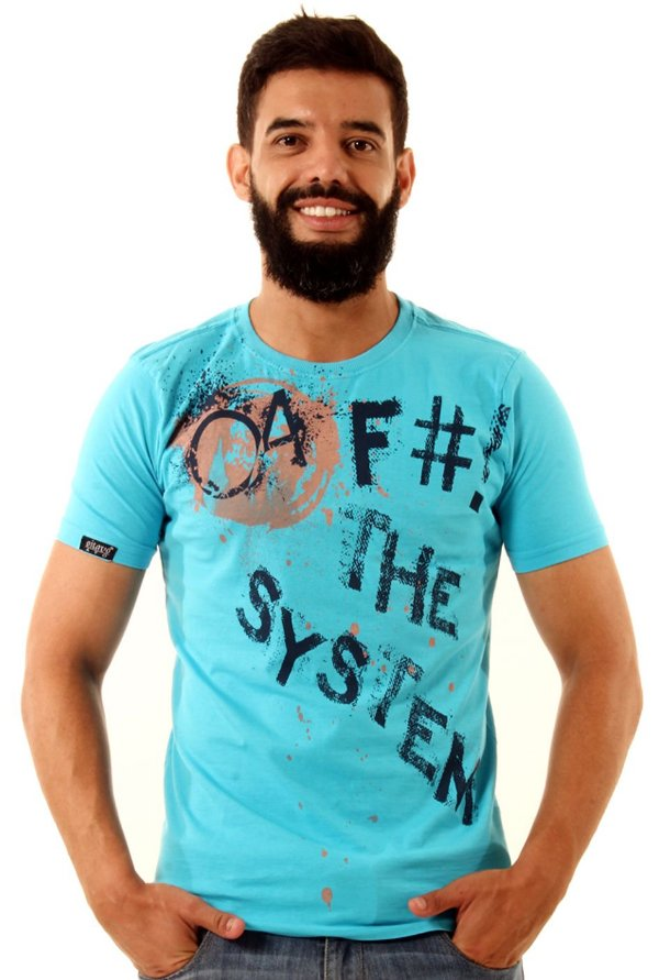 Camiseta Oitavo Ato Fck The System Baby Blue