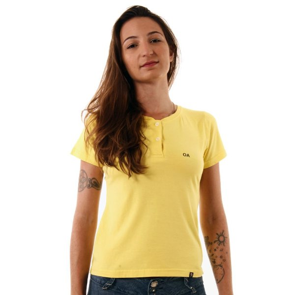 Camiseta Feminina Oitavo Ato Henley Amarelo