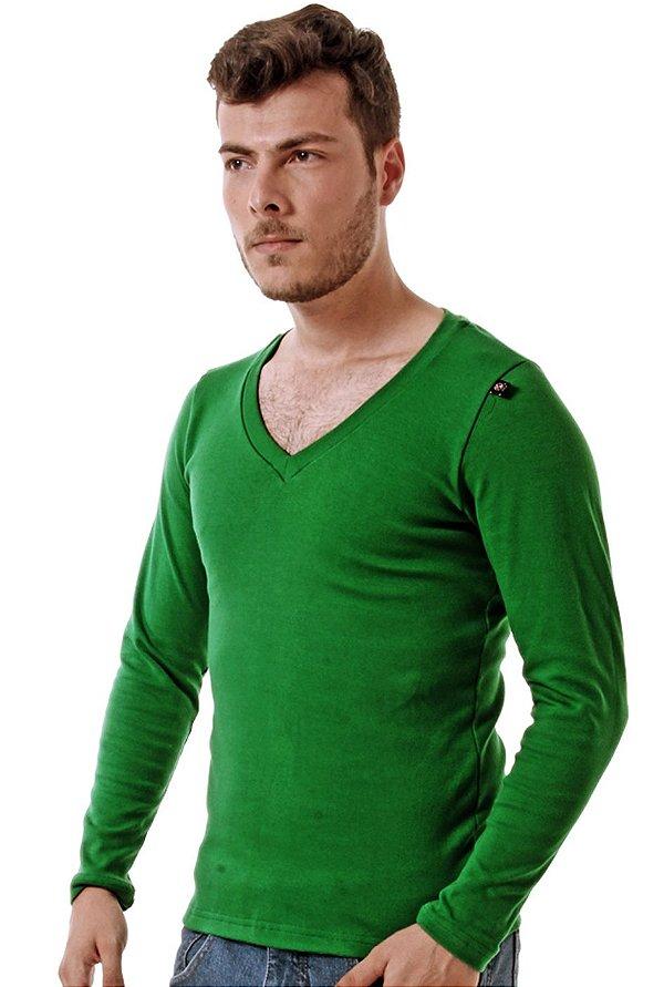 Camiseta Decote V Oitavo Ato Manga longa Verde