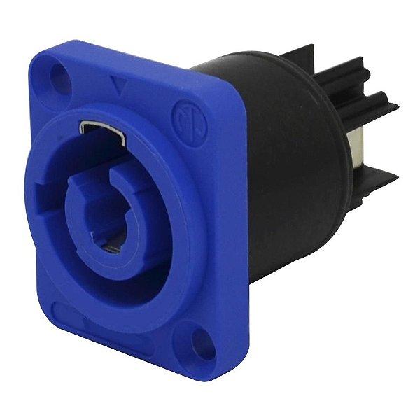Conector Soquete 3 pinos Powerconn NAC3MPA 20A/250VAC IP65 Para Painel (Azul) K2579