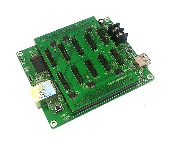 Placa Controladora RGB TF-QS5 Com Adaptador 10*HUB75 Para Painel De LED K2470