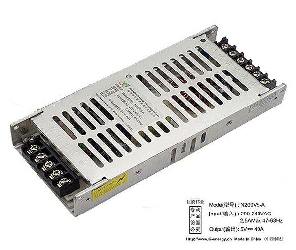 Fonte 5V/40A 220VAC N200V5-A Ultra Slim K2468