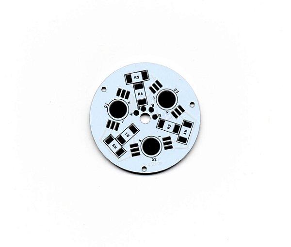 Placa MCPCB Redonda Para 3 LEDs RGB 6 pinos 42mm BGR 32730