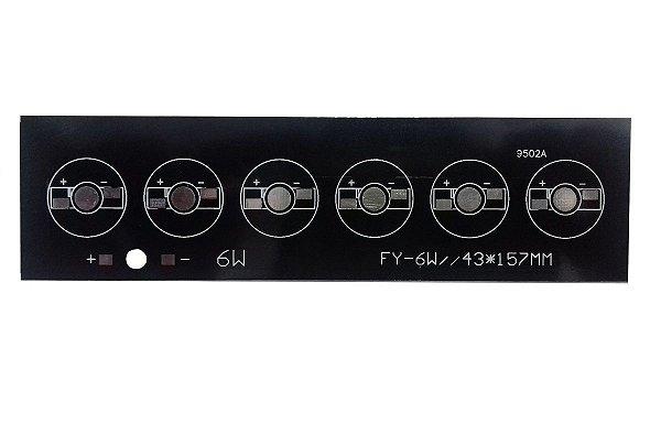 Placa MCPCB Barra Para 6 LEDs De 1W 3W Ou 5W 157x43mm K2384