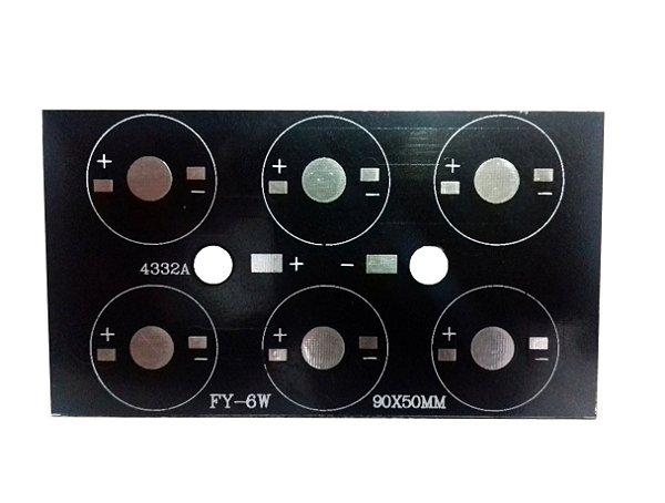 Placa MCPCB Retangular Para 6 LEDs De 1W 3W Ou 5W 90x50mm K2383