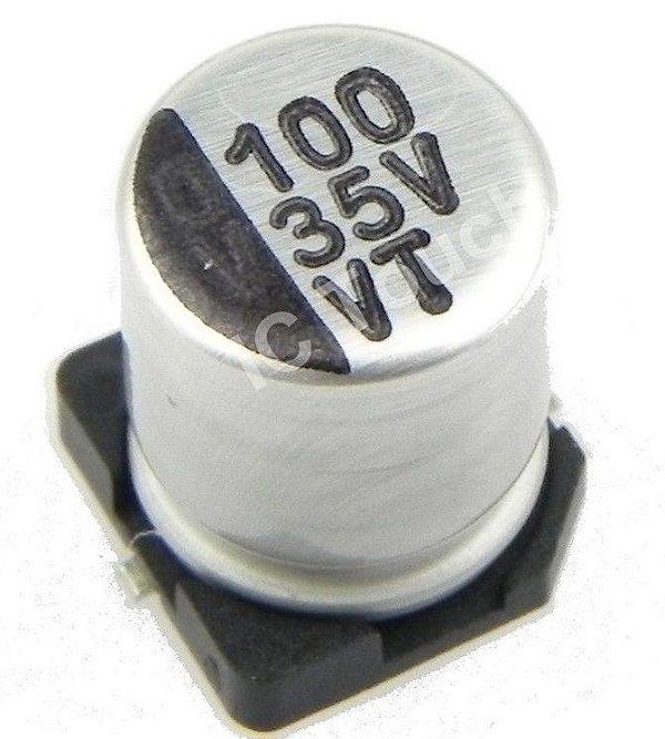 Capacitor Eletrolítico 100uf/35v D8h10 SMD B0007