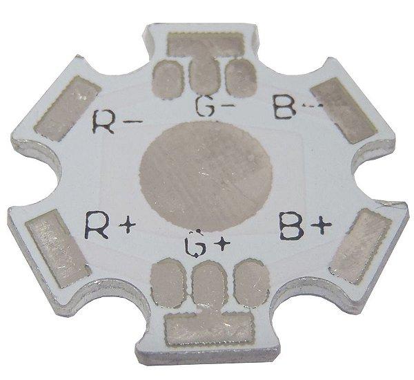 Placa MCPCB Estrela Para LED RGB De 6 Terminais 3W Ou 9W K0510