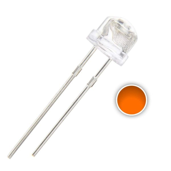 LED 5mm Laranja Alto Brilho 600-605nm Straw K0743