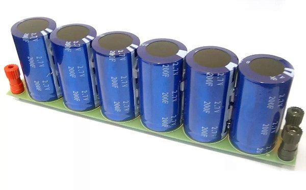 Banco de supercapacitor 33,33F/15,8V (6x 200F/2,7V em série)