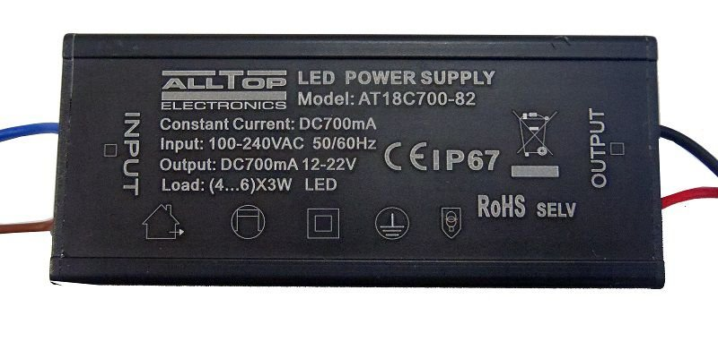 Fonte Driver para 4 a 6 LEDs de 2W ou 3W Bivolt IP67 K1736