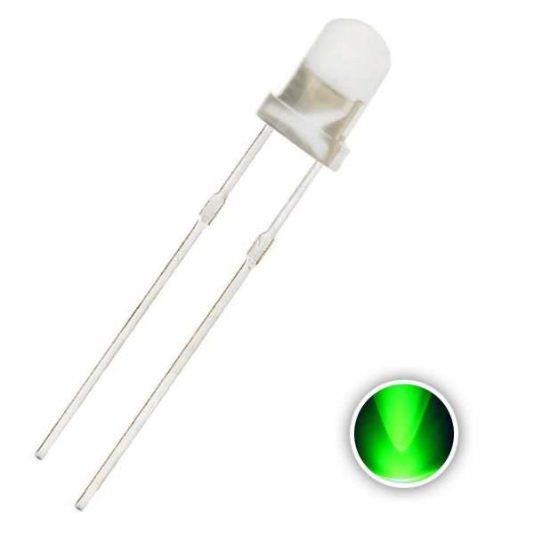 LED 3mm Verde 515-520nm Difuso Leitoso K1690
