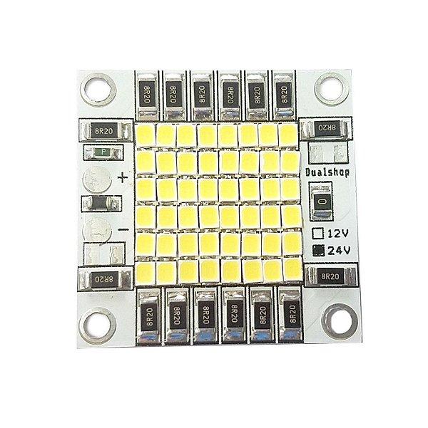 Módulo LED Branco Frio 6000K 50W 24Vcc 48*2835 SMD 40x40mm Base Alumínio