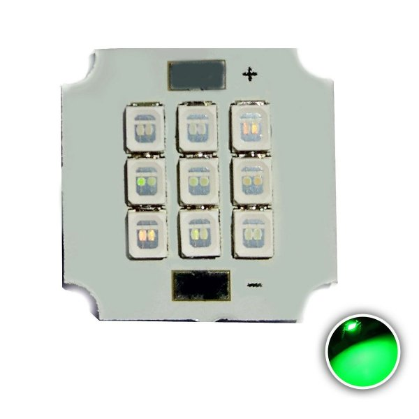 Módulo LED 10W 20x20mm Verde 520-530nm K2808