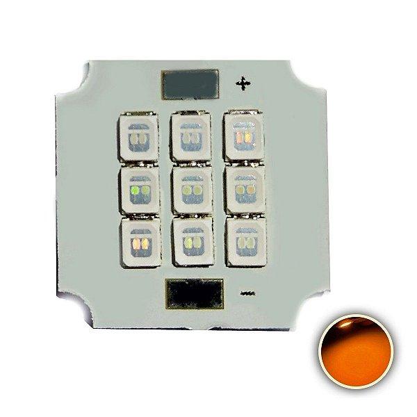 Módulo LED 10W 20x20mm Amarelo Âmbar 590-595nm K2810