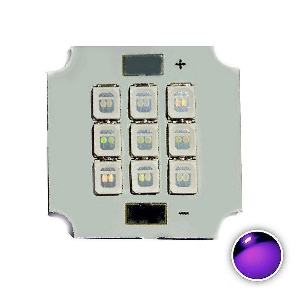 Módulo LED 10W 20x20mm Ultra Violeta UV 390-395nm K2811
