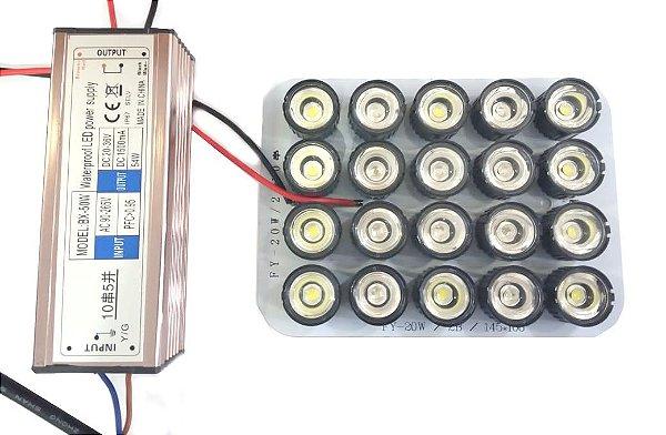 Kit Refletor Luminaria Led Para Aquario Marinho 50w 90 graus X0001