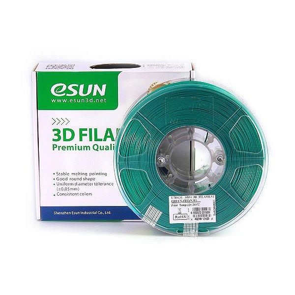 Filamento Impressora 3D ABS+ 1.75mm 1kg Premium Verde Esun E0012