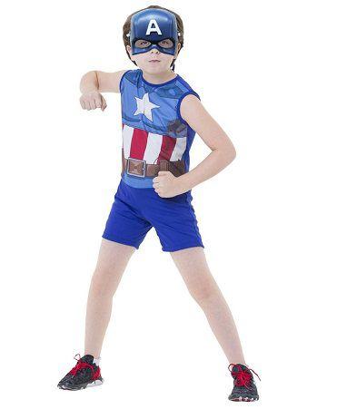Fantasia Vingadores Capitão América Curta com Máscara