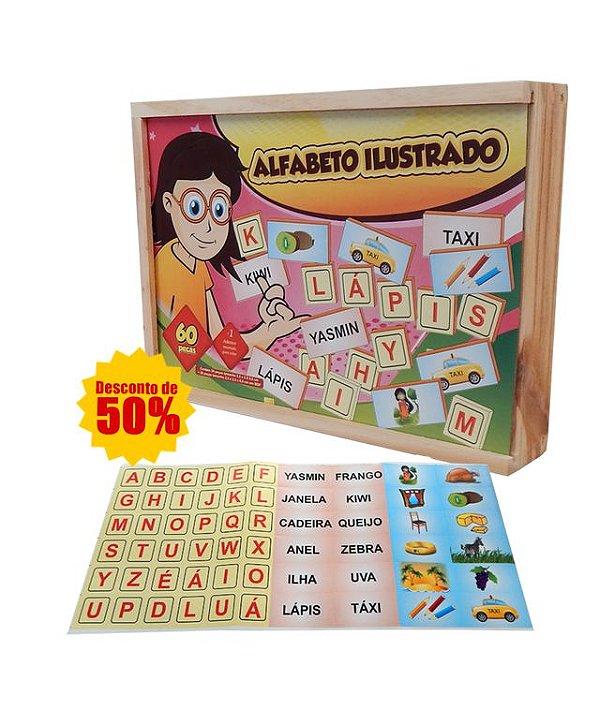 KIT DE ALFABETIZAÇÃO: Alfabeto Ilustrado em Madeira - Grátis Alfabeto Móvel em EVA