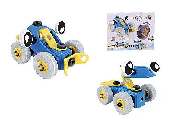 Brinquedo Educativo de Montar Auto Construtores CARRO (Azul e Amarelo) - Dican