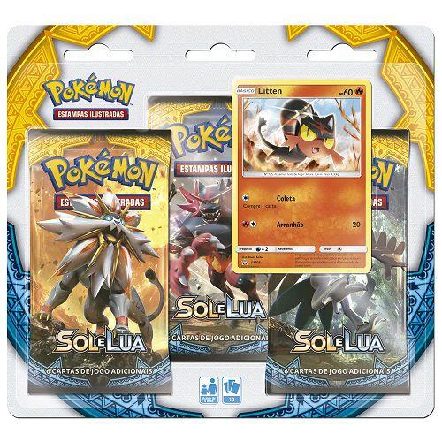 Pokemon Cartas - Sol e Lua - Blister Triplo com 19 Cards