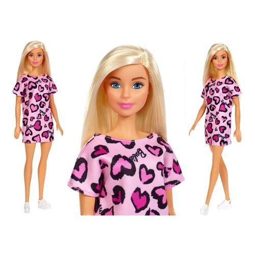 Boneca Barbie Fashion Loira Com Vestido Rosa Coração Mattel