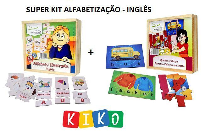 Super KIT de Alfabetização - INGLÊS - Alfabeto + Quebra Cabeças