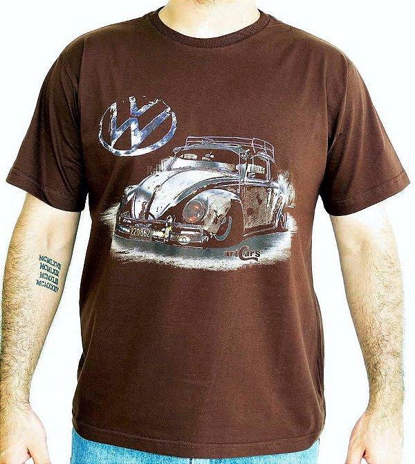 Camiseta Masculina Fusca Ride Marrom