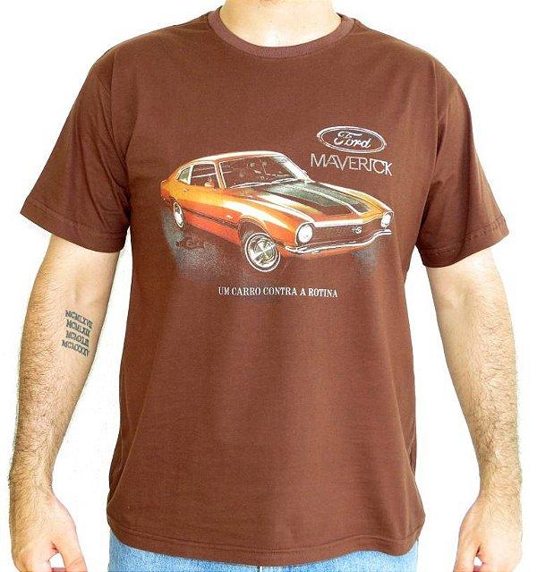Camiseta Masculina Maverick Rotina Marrom