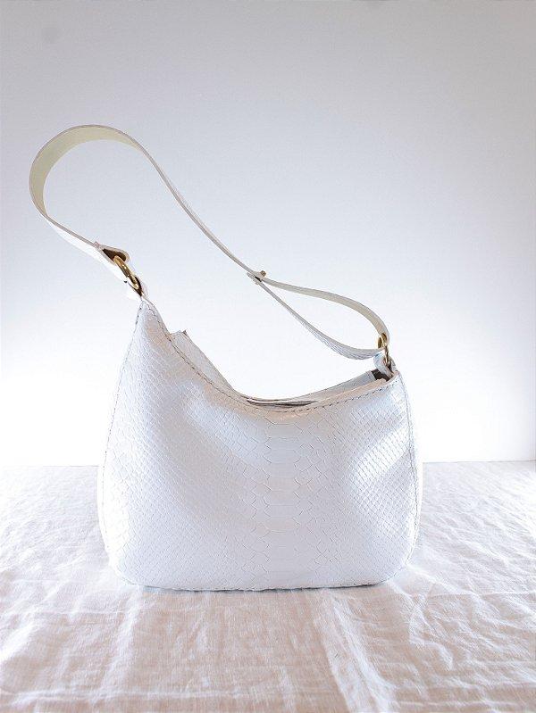 Bolsa Baguete Laura Anaconda Branco