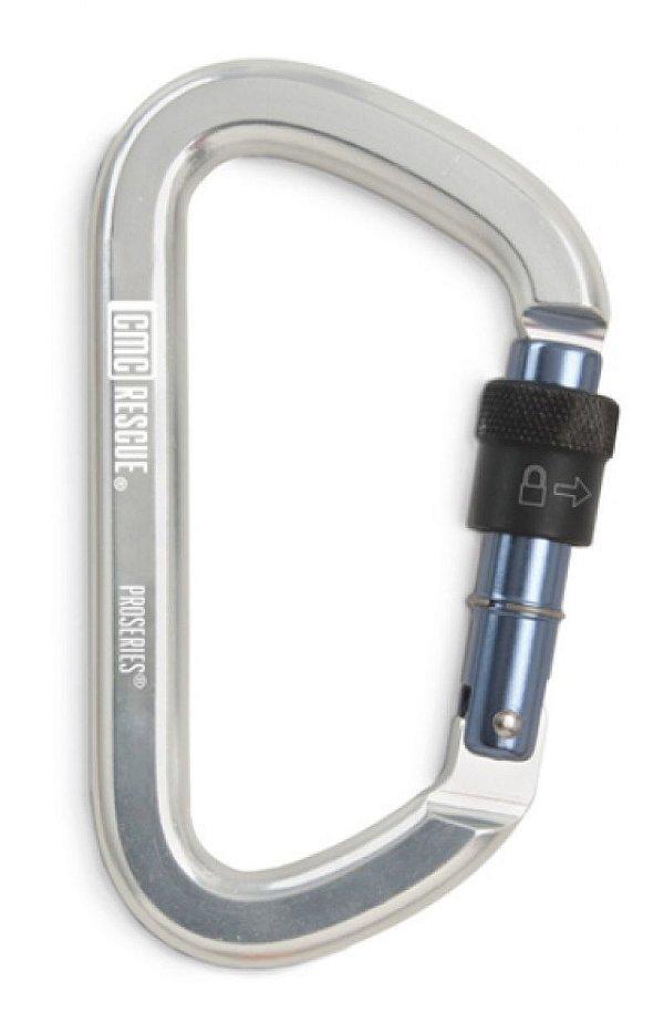 Mosquetão alumínio D assimétrico 49kn rosca NFPA G incolor