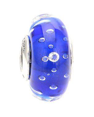 Charm de Prata e Murano Azul