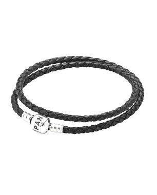Bracelete Pandora de Couro Trançado Preto de Duas Voltas PAND