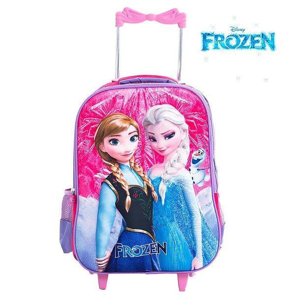 Mochila Infantil Escolar 3D Com Rodinhas Elsa e Anna Frozen