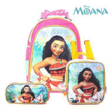 Kit Mochila Infantil Escolar Com Rodinhas Moana Disney