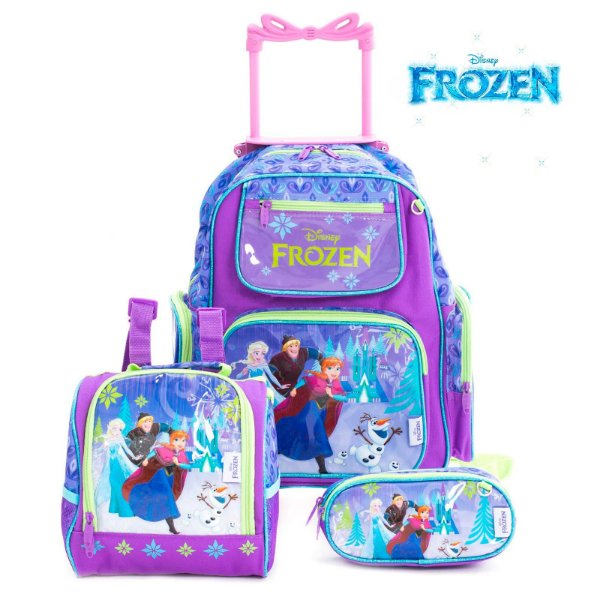 Kit Mochila Infantil Escolar Com Rodinhas Frozen
