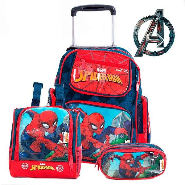 Kit Mochila Escolar Infantil Com Rodinhas Homem Aranha