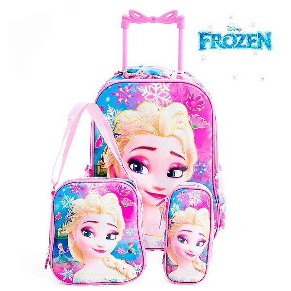 Kit Mochila Infantil Escolar 3D Com Rodinhas Frozen Elsa