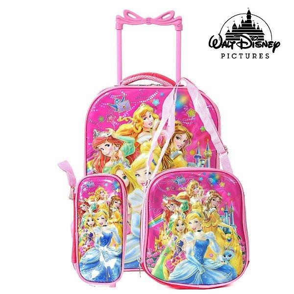 Kit Mochila Infantil Escolar Com Rodinhas Princesas
