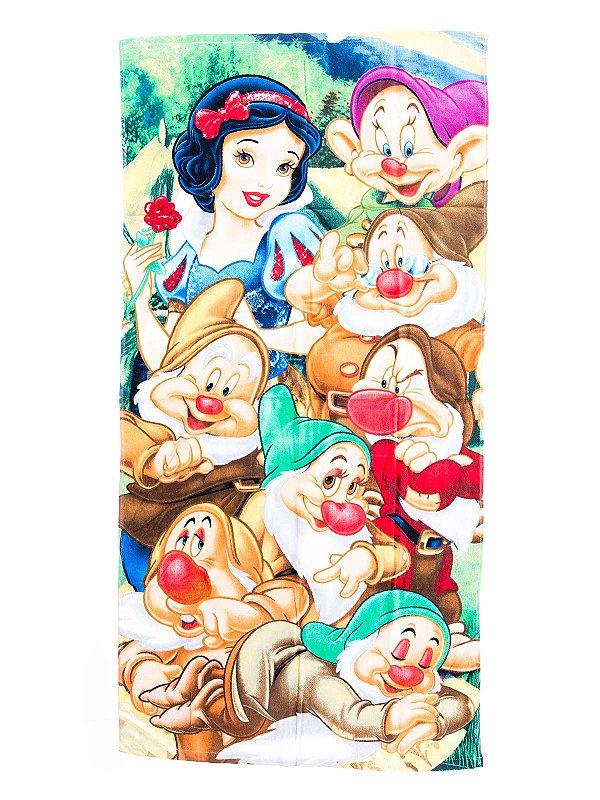 Toalha De Banho Branca de Neve e os Sete Anões Felpuda Infantil Personagens