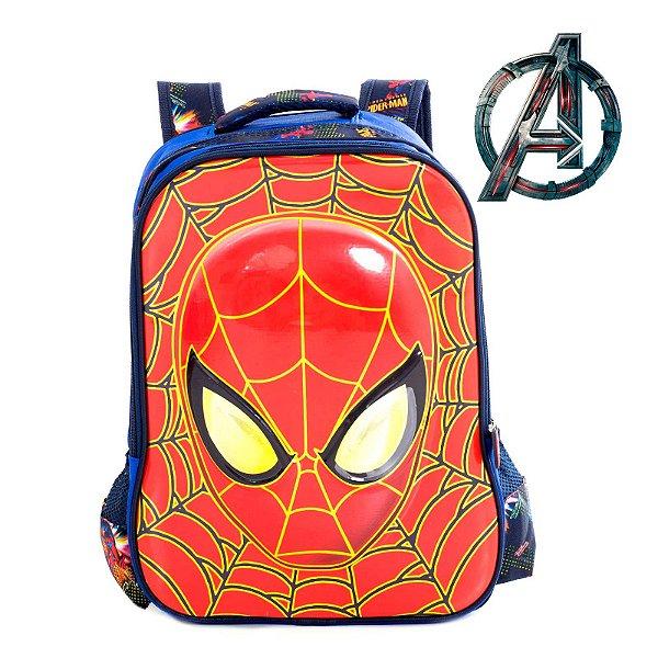 Mochila Infantil 3D Escolar de Costas Homem Aranha